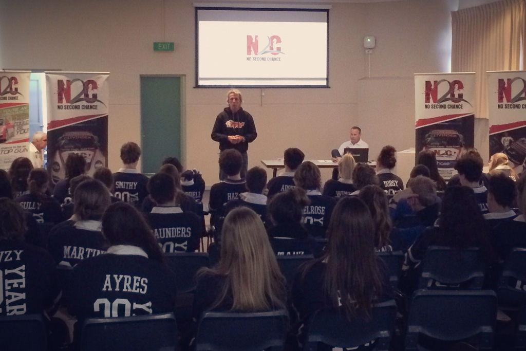 Warren Luff talks to students at Benalla College