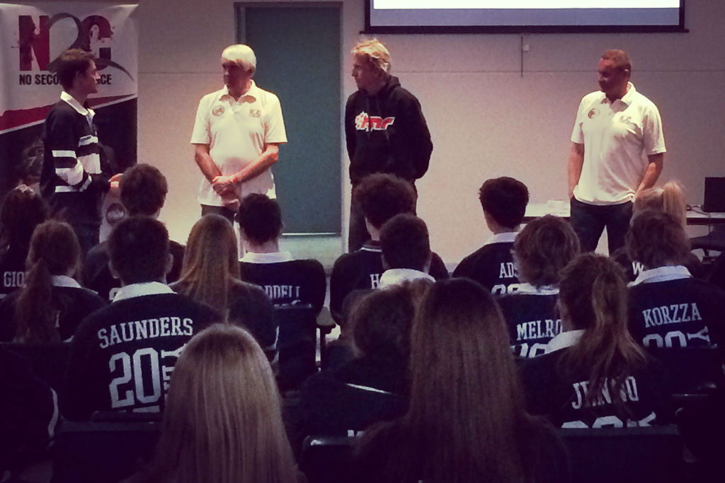 Warren Luff, Paul Stanley and Adny McElrea talk to students at Benalla College