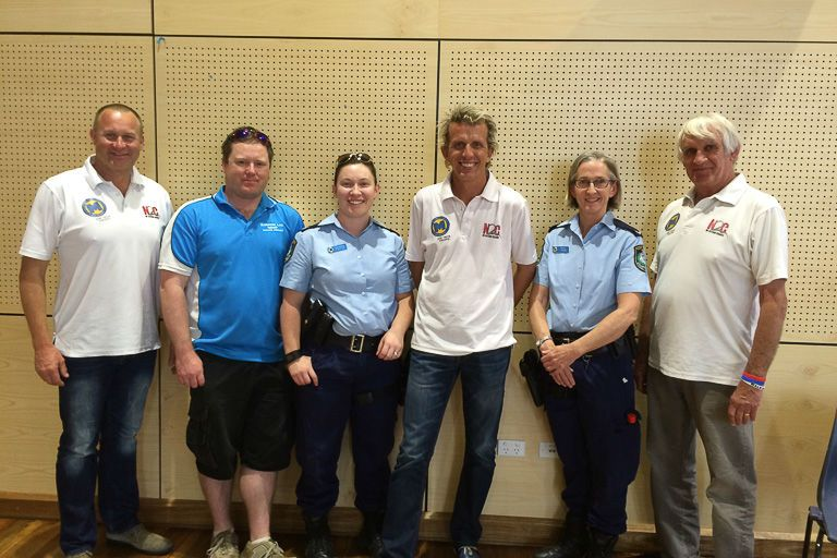 Andy McElrea, James Carters, Senior Constable Belinda Bostock, Warren Luff, Constable Tracey Monro and Paul Stanley at Denison College Bathurst