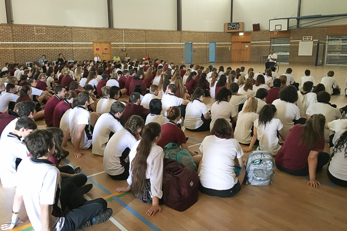 Matt Speakman sharing his story with the students at Aberfoyle Park High School