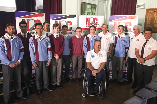 Matt Speakman with the Prefects at Homebush Boys High School