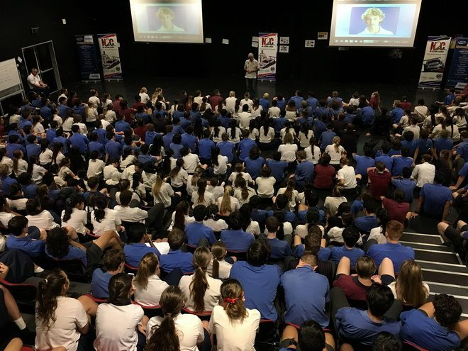 Paul Stanley talks with the students at Brisbane State High School