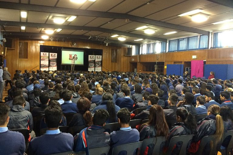 Paul Stanley talks to the students at Dandenong High School