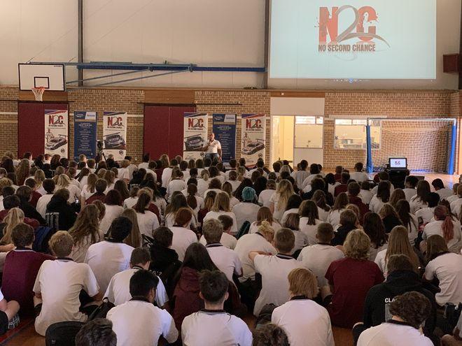 Matt Speakman with N2C at Aberfoyle Park High School